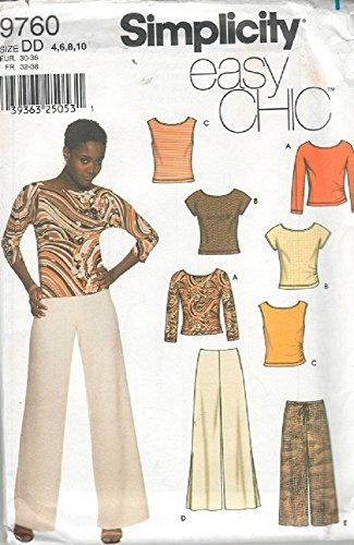 Simplicity Pattern 9760 - Misses Pants in Two Lengths and Knit Tops - Size 4 - 10 by Simplicity