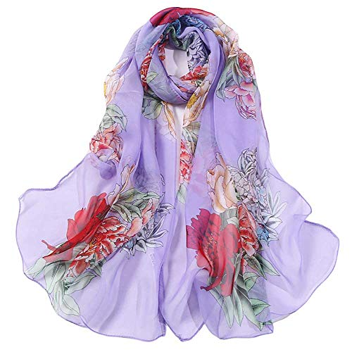 Print Silk Feeling Scarf Fashion Scarves Lightweight Shawl Scarf Sunscreen Shawls for Womens (Rose Purple)