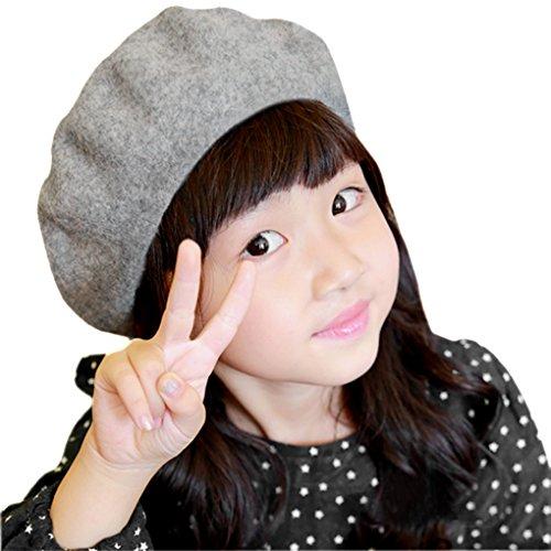[Kids Girls Boys 100% Wool French Dome Beret Hat Flat Cap Winter Autumn Fancy Dress Artist Painter Bailey] (France Costume For Girls)