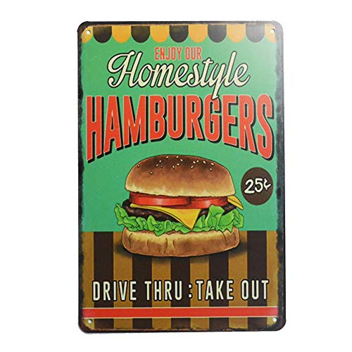 - ERLOOD Enjoy Our Homestyle Hamburgers Retro Vintage Bar Signs Tin Sign Vintage Decor 12 x 8