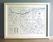 Wild Portland Oregon, Columbia River Gorge, Mount Hood Map Unframed Print