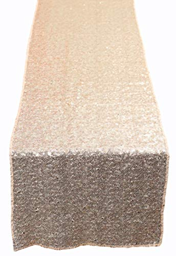 N&Y HOME Champagne Gold Sequin Table Runner 12x72 inch, Glitter Sequin Runner for Wedding, Birthday, Party, Baby Shower Decorations, Celebrations and Events -