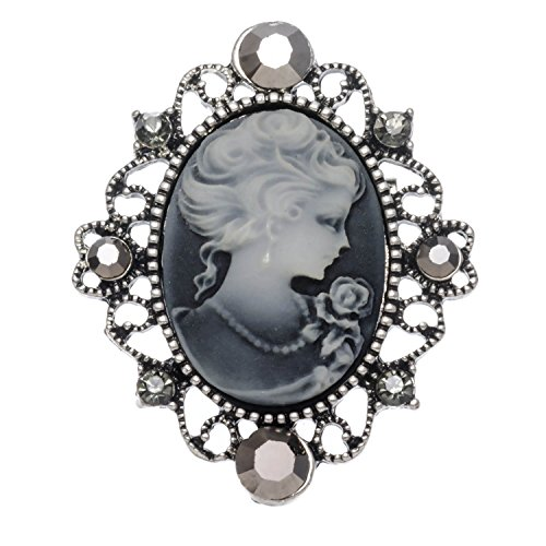 Jewelryfinds Lady Cameo Burnished Silver with Gray Acrylic Pin Brooch