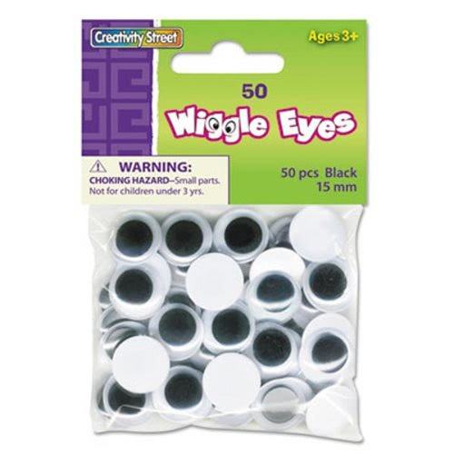 The Chenille Kraft Company Round Black Wiggle Eyes, 15mm, Black, 50/Pack (48 Pack) by Creativity Street