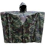 Rain Poncho JTENG® Waterproof Ripstop Hooded US PVC Camouflage Rain coat