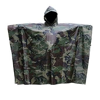 "JTENG Rain Poncho Waterproof Ripstop Hooded US PVC Camouflage Rain coat (with 12"" x 9"" camo zipper bag) , Camo, One Size…"