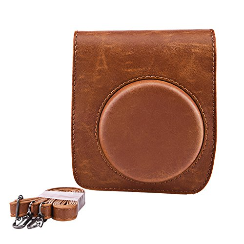 Sunmns Retro Vintage PU Leather Protective Case Bag Cover with Strap for Fujifilm Instax Mini 90 Instant Film Camera, Brown
