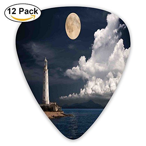 Newfood Ss Lighthouse At Moonlight Island Isle Large Clouds Sea Seaside Waterfront Night-Time Bay Guitar Picks 12/Pack Set