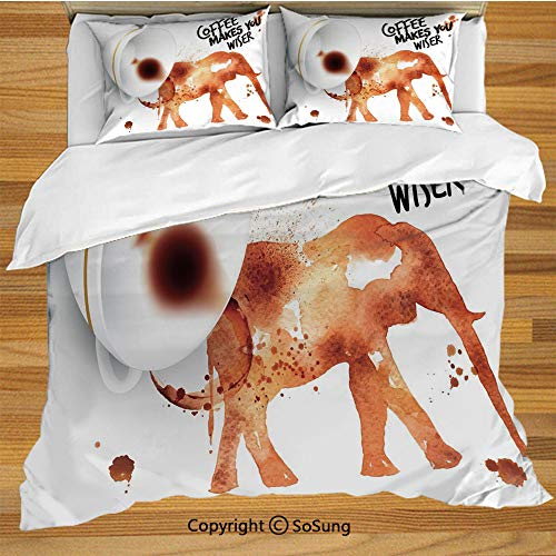 Coffee Art King Size Bedding Duvet Cover Set,Drink Coffee and Be Wiser Concept with Elephant Espresso Stains Decorative 3 Piece Bedding Set with 2 Pillow Shams,Burnt Sienna Black White