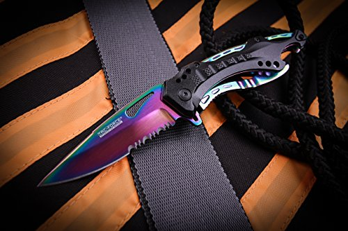 TAC Force TF-705RB Assisted Opening Tactical Folding Knife, Rainbow Half-Serrated Blade, Black Handle, 4-1/2-Inch Closed