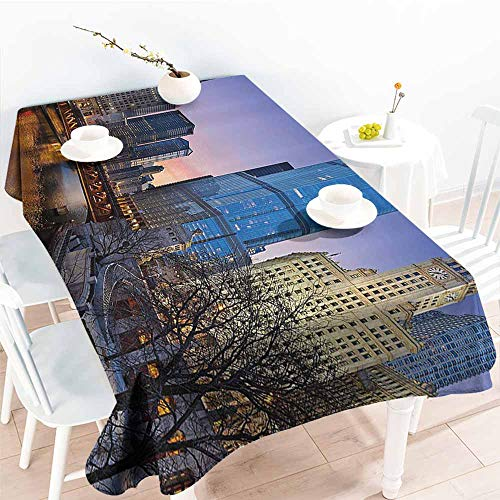 Homrkey Restaurant Tablecloth Landscape USA Chicago Cityscape with Rivers Bridge and Skyscrapers Cosmopolitan City Image Multicolor and Durable W50 xL80