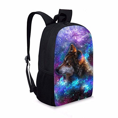 Chaqlin Modischer Galaxie-Tier-Rucksack, Schultasche für Jungen und Mädchen, Buchtasche, Tagesrucksack wolf-3