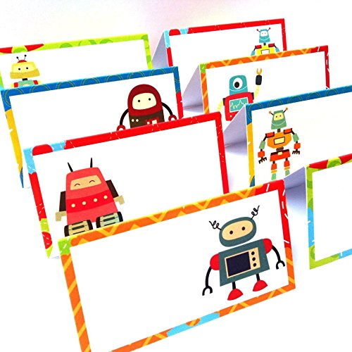 Robot Place Tent Cards - Boy Kids Children Birthday Baby Shower Party Supplies - Set of 12