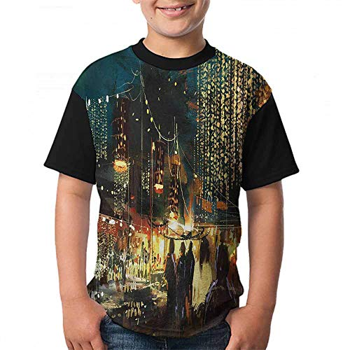 Night Unisex T-Shirt Painting of Shopping Street City with Colorful Nightlife Abstract Brushstrokes Art Size:S Multicolor ()