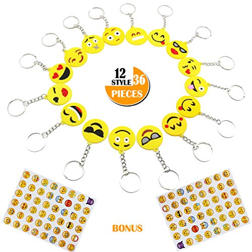 36-Pack Emoji Keychains Party Favors for Kids, Birthday Party Supplies for 12 Popular Emoticon Emoji Key Chains Keyrings Decoration for Bag, Perfert Camp Prizes Carnivals Classroom Rewards, Bonus 96 Stickers
