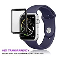 Celltronics iWatch 42mm Tempered Glass Screen Protector, [3D Full Coverage] [Anti-Scratch] [High Definition] for Apple Watch 42mm Series 3/2/1 (Black) by Celltronics