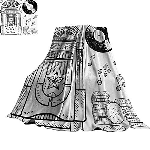 Jukebox Blanket Sheets Doodle Style Retro Music Box Notes Coins Long Play Vintage Sketchy Artwork 60