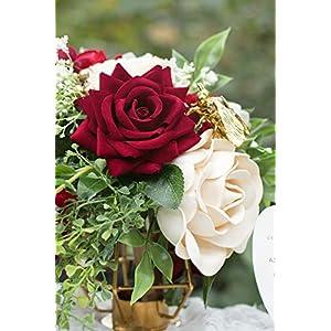 Ling's moment Artificial Velvet Roses Flowers 6