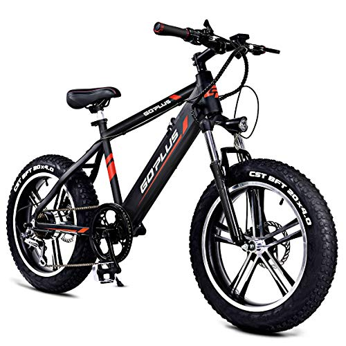 Goplus 20 Electric Mountain Bike Bicycle E-Bike Fat Tire 17MPH Max Speed with Removable 48V 350W Lithium Battery, Charger and Shimano Speed Shifter