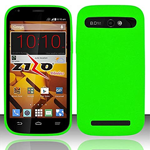 Mystcase (TM) For Boost Mobile ZTE Warp Sync N9515 Rubber Silicone Soft Gel Skin Case Phone Cover + Screen Protector (Neon (Zte Warp Sync Rubber Phone Case)