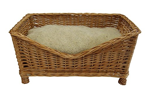 Rectangular Wicker Dog Bed - Complete With Cosy Sherpa Fleece Cushion (Medium L69cm x W40cm)