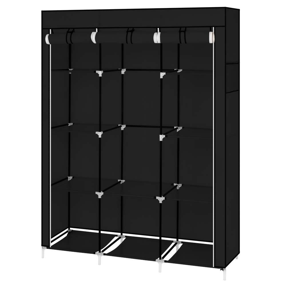 WegiKing 50'' Closet Organizer, Portable Bedroom Clothes Storage Closet Shelf Dustproof Fabric Wardrobe, Black