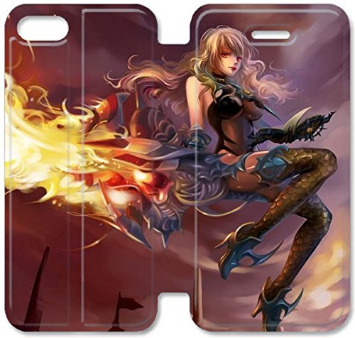 Coque iPhone 5C Coque Cuir, Klreng Walatina® 5C PU Cuir de portefeuille Coque Design By Eyedentity MMORPG Dragon Nest S0R5Er