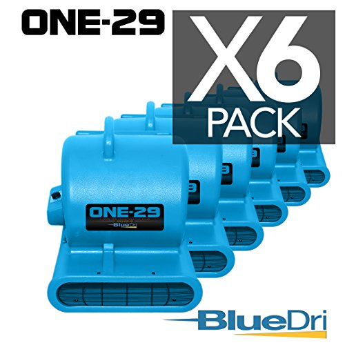 ONE-29 Air mover Carpet dryer 3-Speed 2.9 AMPS with GFCI 4-unit Daisy Chain Capability BLUE 6-PACK by BlueDri