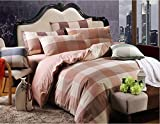 Norson Home Textiles, Health Super Soft Washed Cotton Bedding Sets, Simple Plaid Bedding 4pc Set / 5pc Set, Queen, Free Shipping, Do Not Fade (2, 5pcs with comforter)
