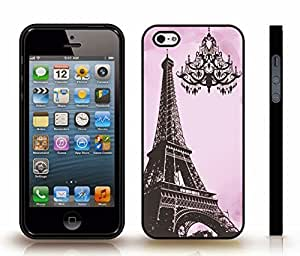 Case For Sam Sung Galaxy S5 Mini Cover with Eiffel Tower Photostamp with Chandelier Silhouette on Pink Background , Snap-on Cover, Hard Carrying Case (Black)