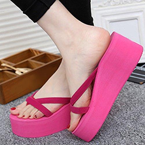 MEIBY Flip High Shoes Beach Heel Women Slippers Shoes Sandals Red Rose Platform Wedge Flops Summer rfqUrZW7