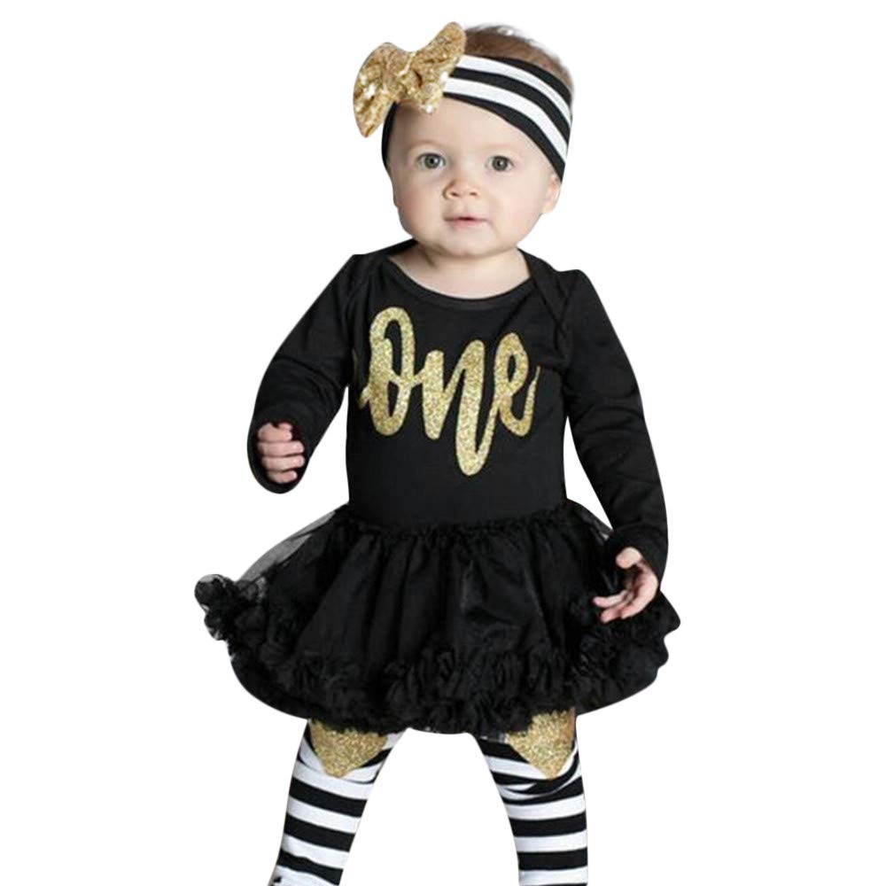 NUWFOR Infant Baby Girls Letter Print Jumpsuit Romper Dress Headbands Outfits Clothes(Black,3-6Months