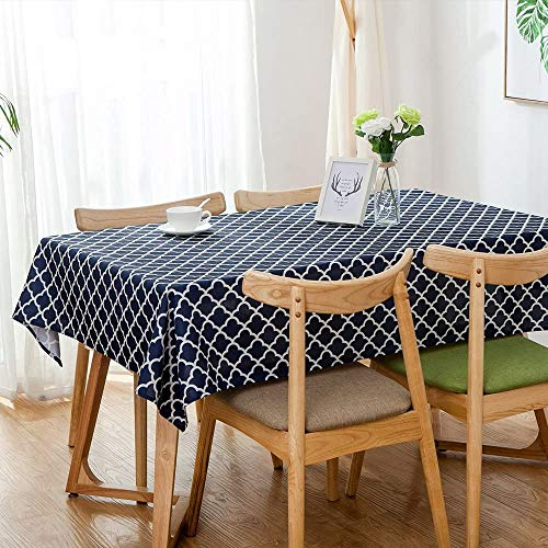 "Lamberia Tablecloth Waterproof Spillproof Polyester Fabric Table Cover for Kitchen Dinning Tabletop Decoration (Blue Moroccan, 60""x102"")"