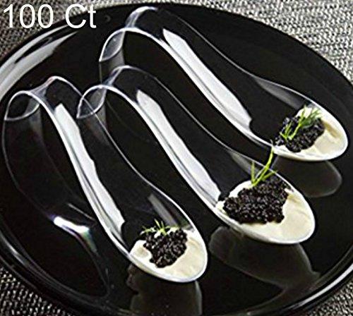 Zappy 100 Disposable Plastic Spoons Asian Spoons Small De...