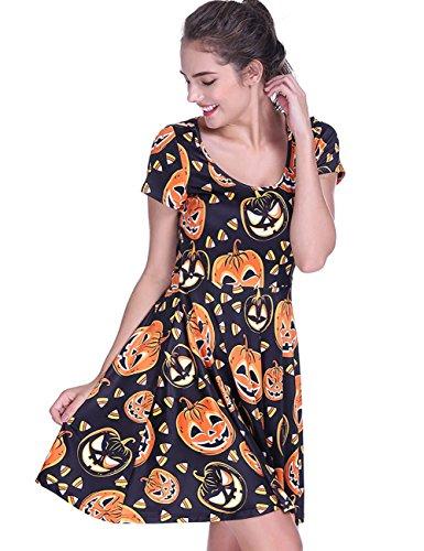 Cute Pumpkin - Fancyqube Women's Summer Short Sleeve Cute Pumpkin Print Flare Dress Black S