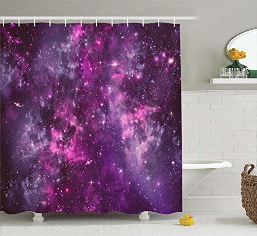 Ambesonne Purple Decor Collection, Nebula Gas Cloud Deep Dar