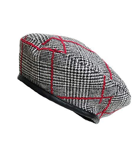 Clecibor PU Edge Houndstooth Print Beret Vintage Painter Hat Cap, Red Stripe