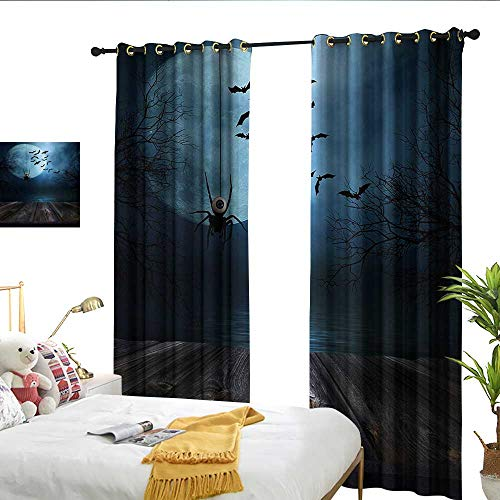 Wen Zhouqw Halloween Misty Lake Scene Rusty Wooden Deck Spider Eyeball and Bats with Ominous Skyline Blue Brown Pattern -