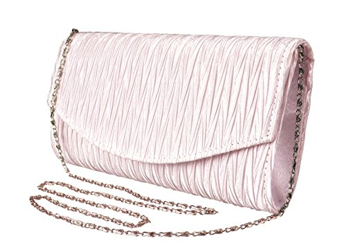 Peach Couture Womens Vintage Satin Pleated Envelope Evening Cocktail Wedding Party Handbag Clutch (Light Pink)