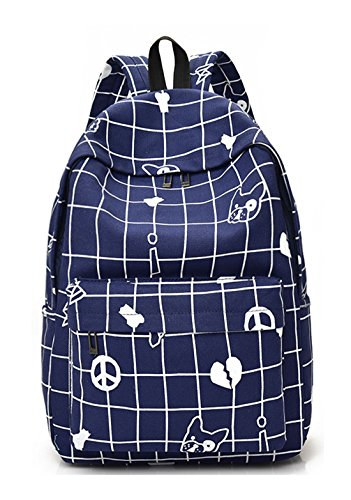 Keshi Leinwand neuer Stil Schulrucksäcke/Rucksack Damen/Mädchen Vintage Schule Rucksäcke mit Moderner Streifen für Teens Jungen Studenten Blau OOiQVQdiU