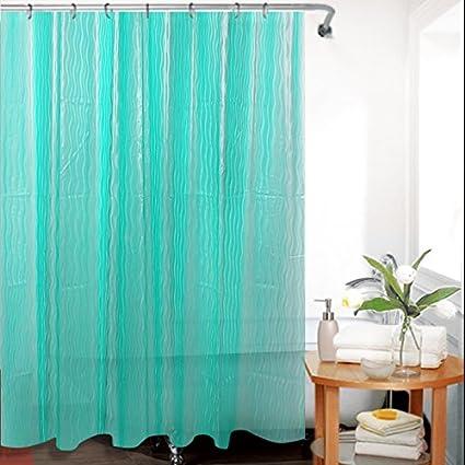 Green Tree Cortina de ducha de EVA 3D con ganchos resistentes al Moho antibacteriano para baño