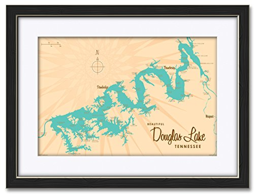 Northwest Art Mall Douglas Lake Tennessee Map Professionally Framed   Matted Giclee Travel Art Print By Lakebound Print Size  12  X 18  Framed Art Size  18  X 24
