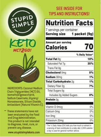 Stupid Simple Keto MCT2Go! 100% MCT Oil Powder from Coconut C8 and C10 Blend, Zero Net Carbs (7 Packets) Great for Pre-Workout, Appetite Control, and Mental Performance 2
