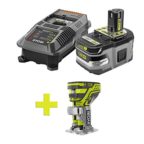 - RYOBI P601 Fixed Base Cordless Trim Router Power Tool- 6.0 Ah Battery - Charger