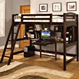 Hokku Designs Alexis Twin Loft Bed with Desk and Bookshelves