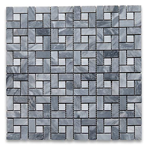 Bardiglio Gray Dark Grey Marble Target Pinwheel Mosaic Tile Black Dots Honed