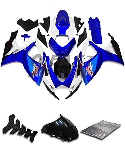 9FastMoto Fairings for suzuki 2006 2007 GSX-R600 GSX-R750 K6 06 07 GSXR 600 750 K6 Motorcycle Fairing Kit ABS Injection Set Sportbike Cowls Panels (Blue & White) S0522