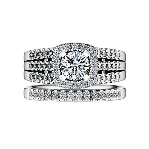 AmDxD Jewelry Silver Plated Women Promise Customizable Rings Full CZ Size 10 by AMDXD