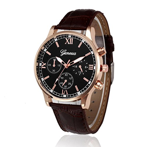 YANG-YI Retro Design Leather Band Round Analog Alloy Quartz Wrist Watch Men Women