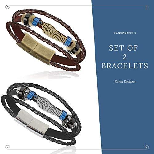 (Combo 2 for 1 Eagle Wing Vintage Genuine Leather 3 Strand Unisex Bracelet Hematite Men Women Comfort Fit Couples Relationship Frienship 60 Day Satisfaction Guarantee)